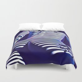 2020s-AK Sensual Blue Striped Woman from Behind Duvet Cover