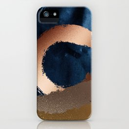 Navy Blue, Gold And Copper Abstract Art iPhone Case