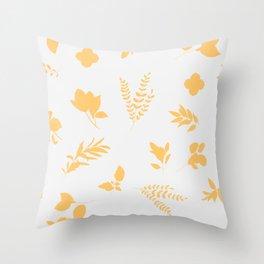 Modern Minimalist Yellow Botanical Print Decor Throw Pillow