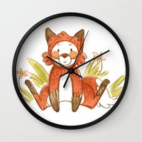 relax Wall Clocks featuring Relax by Pencil Box Illustration