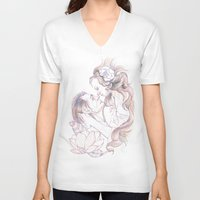 rapunzel V-neck T-shirts featuring rapunzel by Paolo Zorzenon