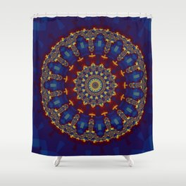 "Kaliedoscope/Mandala -  ""Stained Glass"" Shower Curtain"