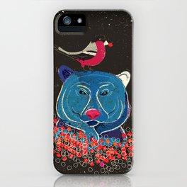 Bullfinch and bear iPhone Case