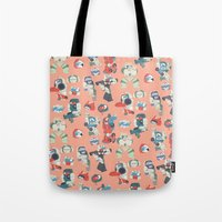 transformer Tote Bags featuring Minibots by confinedclone
