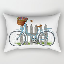 Vintage bicycle with basket full of violets flowers Rectangular Pillow