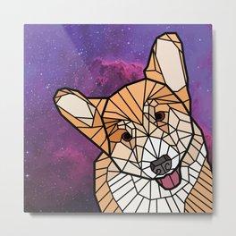 Space Dog - Mosaic Corgi Metal Print