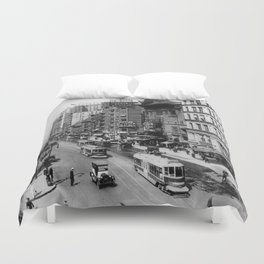 Vintage Broadway NYC Photograph (1920) Duvet Cover