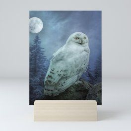 Moonlit Snowy Owl Mini Art Print