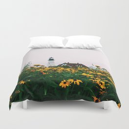 Portland Headlight and Flowers Duvet Cover