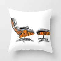eames Throw Pillows featuring Eames Lounger by kflare