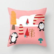 Oriana Penguin pink Throw Pillow