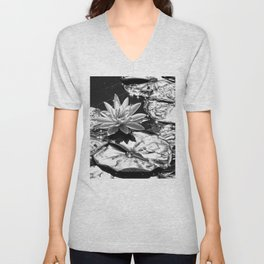 Water Lilies Shining Silver in the Sun Unisex V-Neck