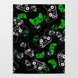 Video Game Black & Green Poster