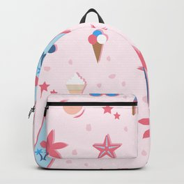 Summer Seamless Pattern. Stylized Summer Elements with shadows Backpack