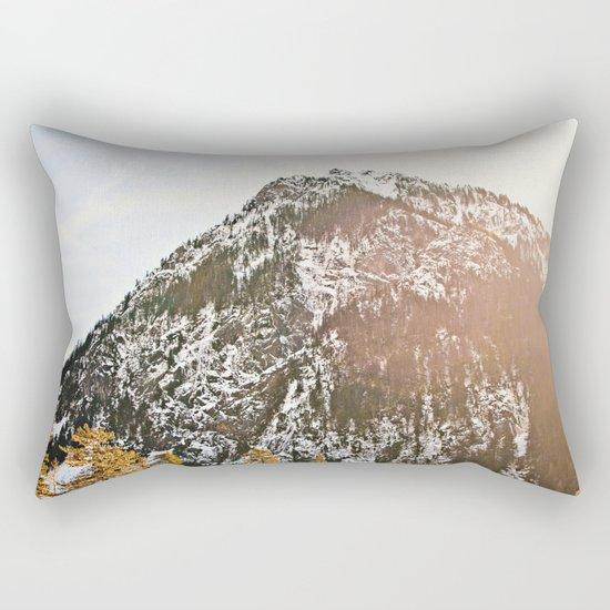 Snowy Mountain Peak in the Sun Rectangular Pillow