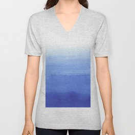 Hand painted navy blue aqua watercolor ombre pattern Unisex V-Neck