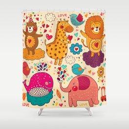 Animals in love Shower Curtain