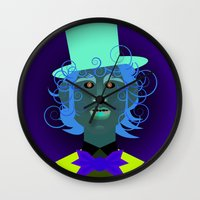 willy wonka Wall Clocks featuring Willy Wonka from Charlie and the chocolate factory, played by the great Gene Wilder by Joe Pugilist Design