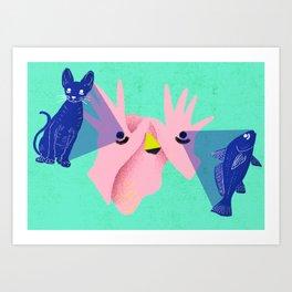 Brazil - Um olho no peixe outro no gato Art Print