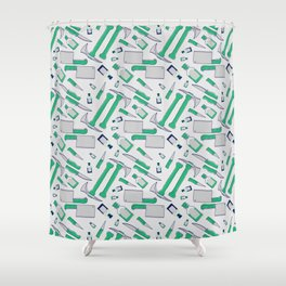 Murder pattern Green Shower Curtain