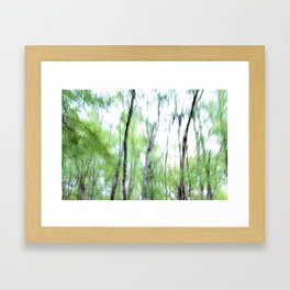 Abstract forest; intentionally blurred by camera shake Framed Art Print