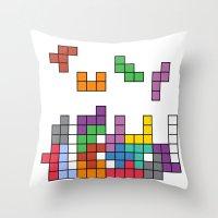 tetris Throw Pillows featuring Tetris by Monchi