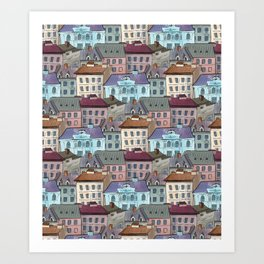 Seamless pattern of the old city rooftops  Art Print