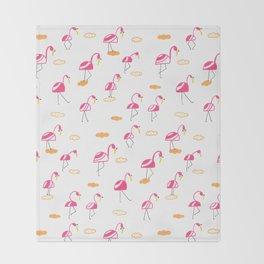 Pink Summer Flamingo Throw Blanket