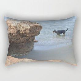 Dog on the beach Rectangular Pillow