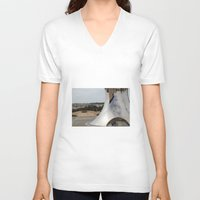 israel V-neck T-shirts featuring  Anish Kapoor's sculpture, Israel Museum, Jerusalem by AntWoman