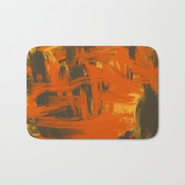 Orange & Olive Abstract Bath Mat