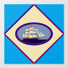A Nautical Scene with Clipper Ship with Sky Blue Background Canvas Print