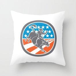 Rodeo Cowboy Bull Riding Flag Circle Retro Throw Pillow