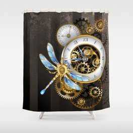 Dials with Dragonfly ( Steampunk ) Shower Curtain