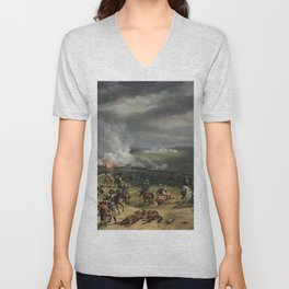 Classical Masterpiece: the Battle of Vernet Valmy by Emile Jean Horace Unisex V-Neck