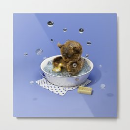 Bath Time Teddy - Blue Metal Print