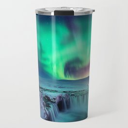 Aurora Borealis Over A Waterfall Travel Mug
