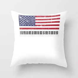 American Flag Grand Piano design Throw Pillow