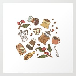 Coffee Break Pattern  Art Print