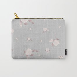 Pastel pink watercolor tulips on light grey background Carry-All Pouch