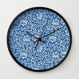 Blue Tudor Rose Damask Wall Clock