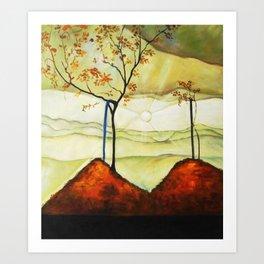 Autumn Sun & Foliage landscape painting by Egon Schiele Art Print