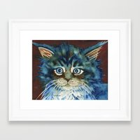 miles davis Framed Art Prints featuring Miles by Cat Art by Lori Alexander