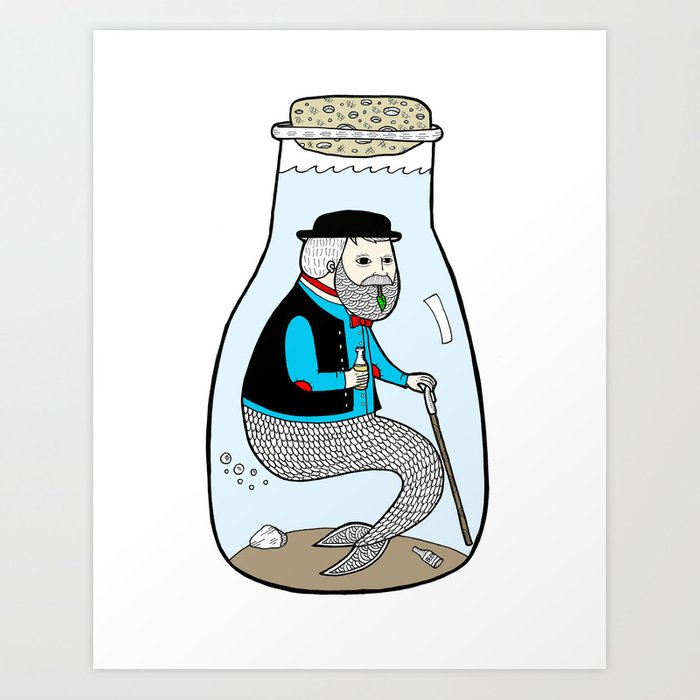 A Merman In Captivity Passing Gas In A Bottle  Art Print