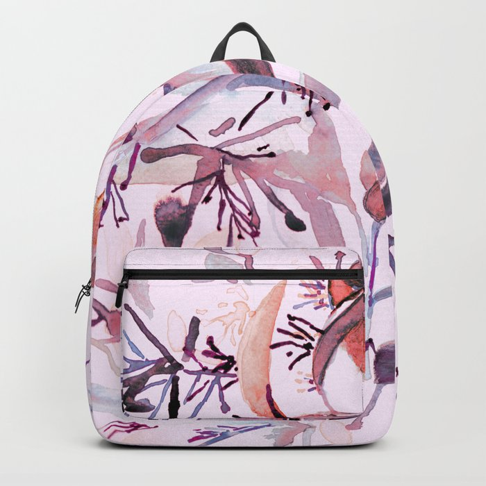 """Hand painted watercolor art """"Botanical Illusion"""" Backpack"""