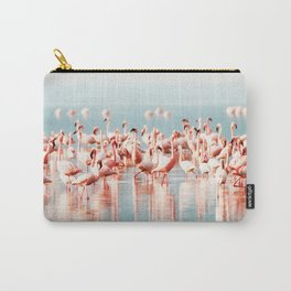 Pink Flamingo, Tropical Art Print By Synplus Carry-All Pouch