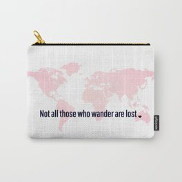 Not All Those Who Wander Are Lost Pink Map San Serif Carry-All Pouch