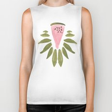 Watermelon and Leaves Biker Tank