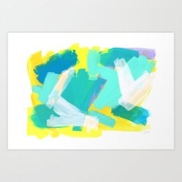 Be Kind, Be OK - mint modern mint abstract painting pastel colors Art Print