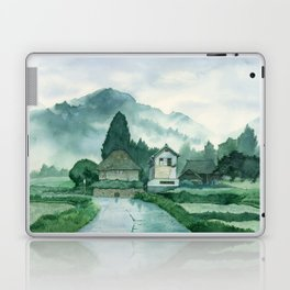 Japanese Village , After Rain ,  Art Watercolor Painting print by Suisai Genki  Laptop & iPad Skin